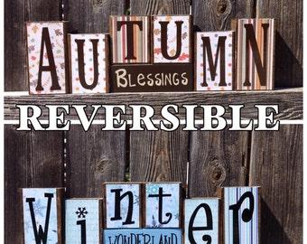 REVERSIBLE Autumn and Winter wood blocks