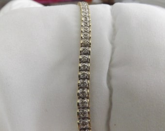 "14k Yellow Gold Vintage 3 ct Diamond Tennis 8.25"" Bracelet-On Sale Now!"