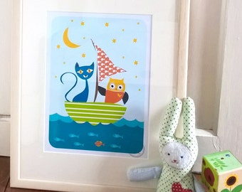 Cat and Owl in a Boat Art Print, Animal Art Print, Nursery Decor, Kids Wall Art, Kids Illustration, Colourful Kids Art