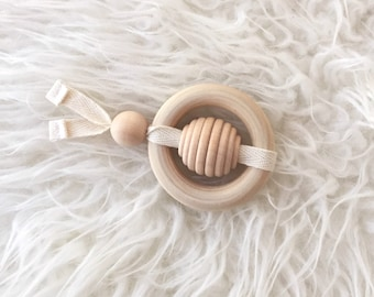 Wood Toy - Baby Gift-  Gender Neutral Teething Toy - Bee Teether - Baby Toy- Teething Toy - Wooden Toy -Baby Gift -Baby Shower Gift