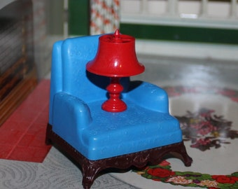 Renwal plastic dollhouse furniture club chair and Jaydon lamp, tin litho three quarter scale, fits with Marx, Ideal, Plasco