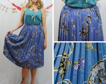 Fan and Pearl Pleated Skirt