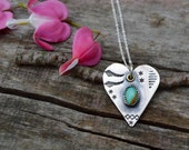 Kingman Turquoise Sterling Heart Necklace. Hand Stamped  . Old Turquoise . Rustic . Earthy . Boho .