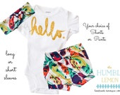 Baby Girl Coming Home Outfit: Hello Bodysuit, Feather Print Shorties Shorts or Legging Pants and Top Knot Headband