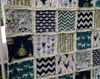 Crib Rag Quilt, Deer TeePee Navy Deer Woodland  Teal Indian Baby Quilt, Antlers Birch Trees Baby Boy Arrows Black Fox Olive Crib Bedding