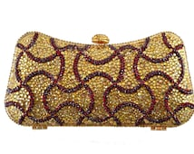 Swarovski ELEMENTS Gold Maroon Burgundy red Swirl floral pattern Crystal Minaudiere Metal rectangle clutch purse bag