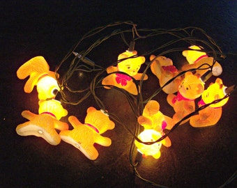 Vintage TEDDY BEAR Blow Mold String Lights