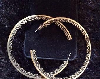 Brass hoop earrings 3 in