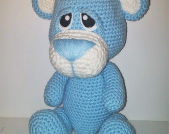 Crochet Little Teddy Bears available in baby blue or pink. READY TO SHIP!!!