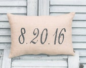 Date Decorative Pillow Decor Pillow Wedding Pillow Birth of Baby Pillow