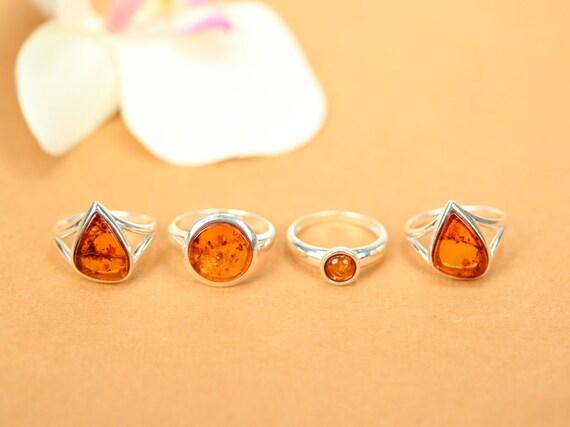 Amber ring - silver ring - baltic amber ring - silver amber ring - honey amber - fossil