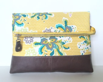 Dotty Oversize Foldover Clutch:  Yellow Floral on Grey leather base
