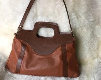 YKK Leather Messenger Tote Bag Hazelnut