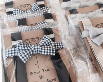 Navy blue check bow tie and navy blue suspenders set for baby and toddler - fits 3months- 6 years