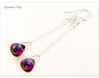 Silver earrings, Swarovski Elements, Flat Briolette 11mm Volcano, Red earrings, Briolette earrings, Volcano earrings, Orange earrings