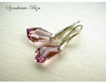 Silver earrings with Swarovski Elements  Polygon Drop 17 mm Light Amethyst