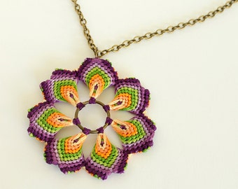Floral necklace nature inspired hippie style with multicolor mandala macrame flower pendant