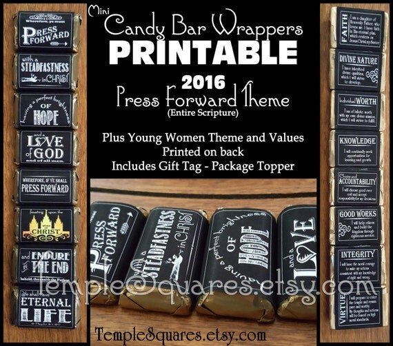 PRINTABLE - New Beginnings Gifts. Mini Candy Bar Wrappers - YW Young Women 2016 theme Press Forward plus Personal Progress Values DIY Cute!