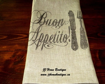 Linen tea towel, Linen Kitchen tea towel , linen towel, linen hand towel, linen dish, 100% linen towel Buon Appetito  Fork, Knife and Spoon