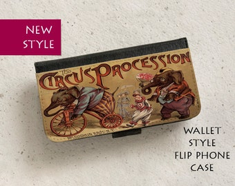 iPhone Case (all models) - Circus Procession - Children's Book Cover - Wallet flip case -  Samsung Galaxy S4,S5,S6,S7Edge,S8 & more
