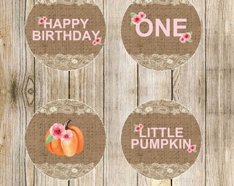 Shabby Chic Pumpkin Cupcake Toppers - Set of 4
