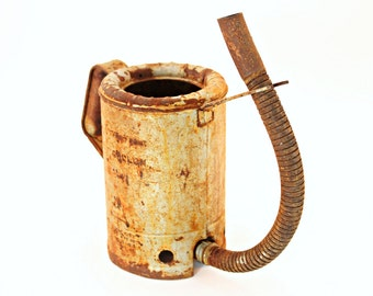 Antique Oil Can, Vintage Oil Can, Swingspout Oil Can, Swingspout Half Gallon Oil Can, Rusty Gold, 20th Century Oil Can, Industrial Decor