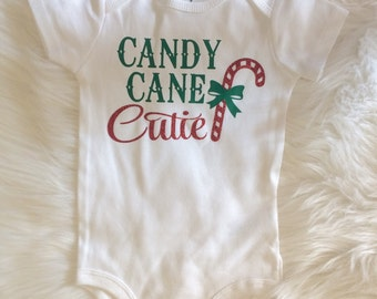 Candy Cane Cutie Kids Shirt Christmas Bodysuit First Christmas Baby Christmas Girls Christmas Shirt Cute Christmas Shirt