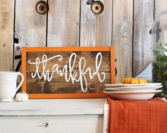 Thankful sign, Fall home decor, harvest home decor, Thanksgiving, autumn decorations, Happy Harvest, Sign