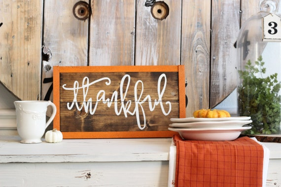 Thankful sign fall home decor harvest home decor for Harvest decorations for the home