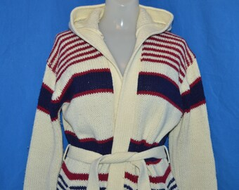 70s Striped Hooded Belted Womens Sweater Medium