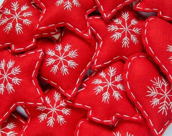 Scandinavian Christmas Felt Hanging Decorations in Red