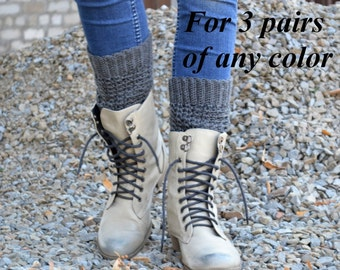 3 PAIRs of  Chunky, cozy Boot Cuffs, Legwarmers, Boot socks, Boot Topper, Knitted Boot Cuffs
