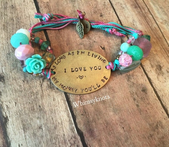 "Mom/ Grandmother jewelry/ Mom jewelry/ Favorite quote jewelry/ As long as I'm living my baby you""ll be--customize--great bracelet for showin"