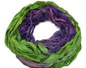 SALE New! Sari Silk Ribbon, 100g , Spearmint/Violet purple