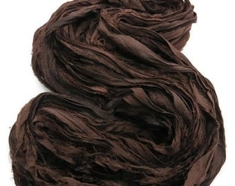 SALE Recycled Sari Silk Ribbon,  Chocolate