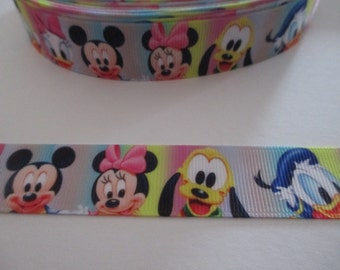 "Disney Baby Characters - Mickey, Minnie, Pluto and Donald Ribbon - 7/8"" - 22mm Wide - 2 Meters"