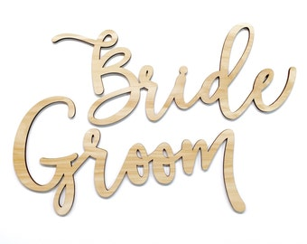 Bride and Groom Chair Signs | Custom Laser Cut Signs | Calligraphy | Party Supplies | Birthday Backdrop | Sweetheart Table Decorations