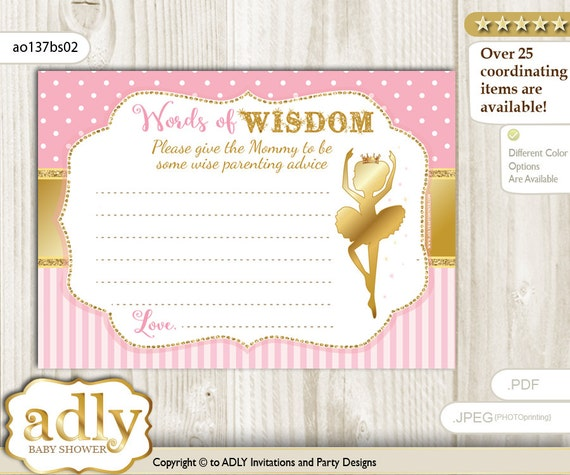Pink Gold Ballet Ballerina Words Of Wisdom Advice Card For Baby