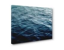 Dark Waters - Gallery Wrap Canvas, Deep Blue Ocean Water Hanging, Coastal Home Nautical Wall Art Canvas. 8x10 11x14 16x20 20x24 24x36 Inch