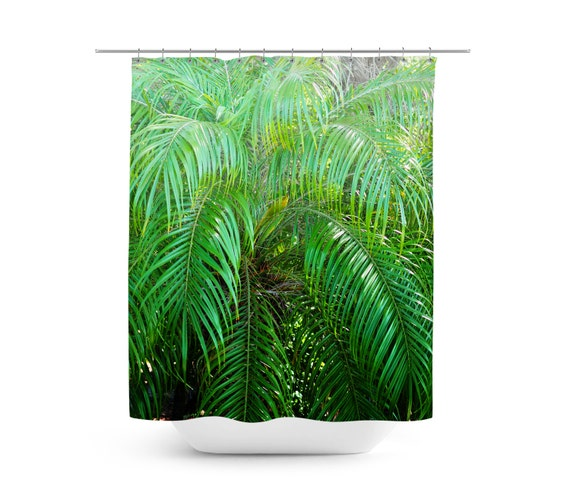 Items Similar To Jungle Palms 3 Shower Curtain Green Palm Tree Fronds Backdrop Beach Surf