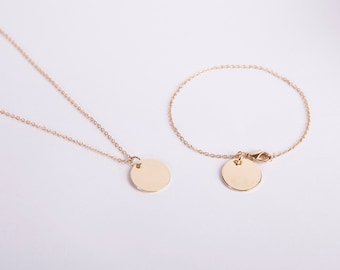 Set Gold Plated Bracelet And Necklace Gold Plated Necklace Coin Disc Circle Golden Ring