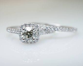GIA Round Diamond Halo Engagement Ring & Wedding Band Bridal Set in 14k White Gold