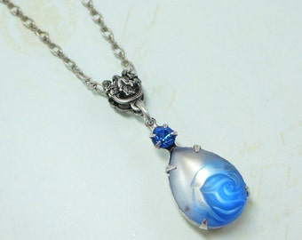 Sapphire Blue Necklace Pendant Blue Rose Silver Victorian Downton Abbey Jewelry Bridal Wedding