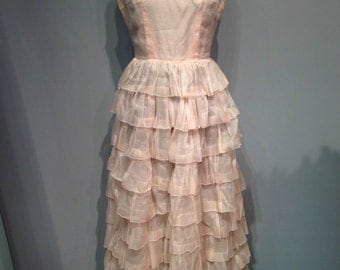 Amazing 60's full length pink light dress