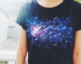 Handprinted Galaxy T Shirt // Womens Space Tee // Handpainted Organic tshirt // Space Print tshirt