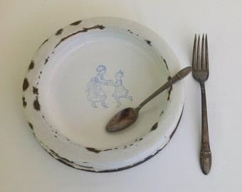 Vintage Swedish Enamel Baby Dish, Enamelware Baby Dish, KER Sweden Enamelware, White Porcelain Enamelware Child's Dish