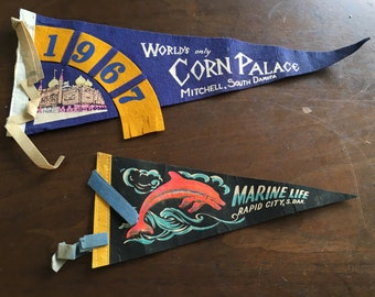 Pair of Vintage 1960s South Dakota Travel Pennants - Corn Palace of Mitchell SD and Marine Land