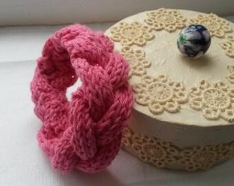Pink knitted bracelet soft bracelet warm bracelet