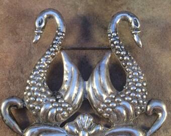 Sterling Silver Swan Brooch