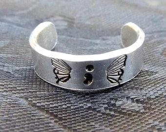 Hand stamped Adjustable Aluminum Semicolon Ring